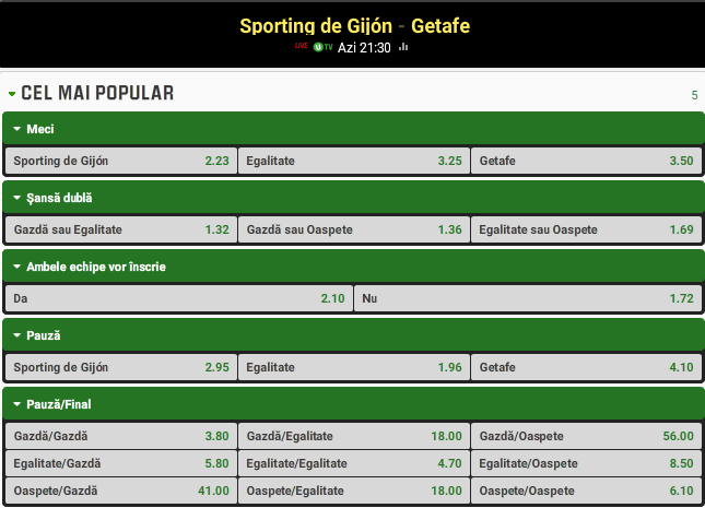 Sporting Gijon vs Getafe
