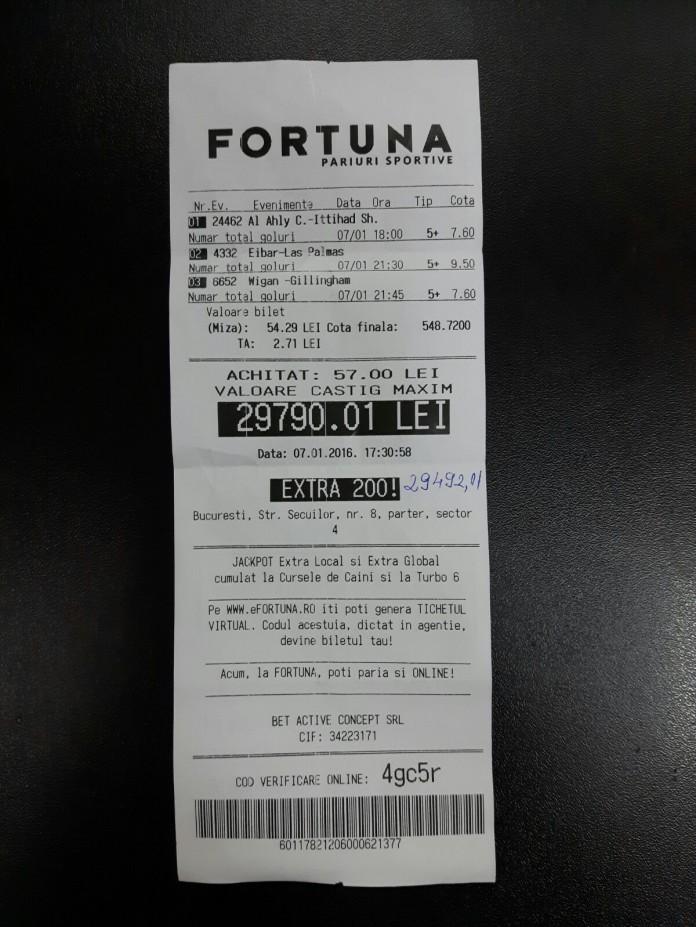 Bilete Pariuri : Un Roman din Bucuresti a dat lovitura !