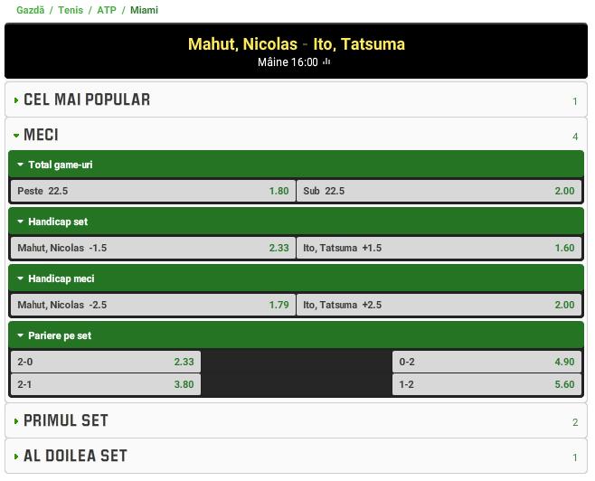 Nicolas Mahut vs Tatsuma Ito