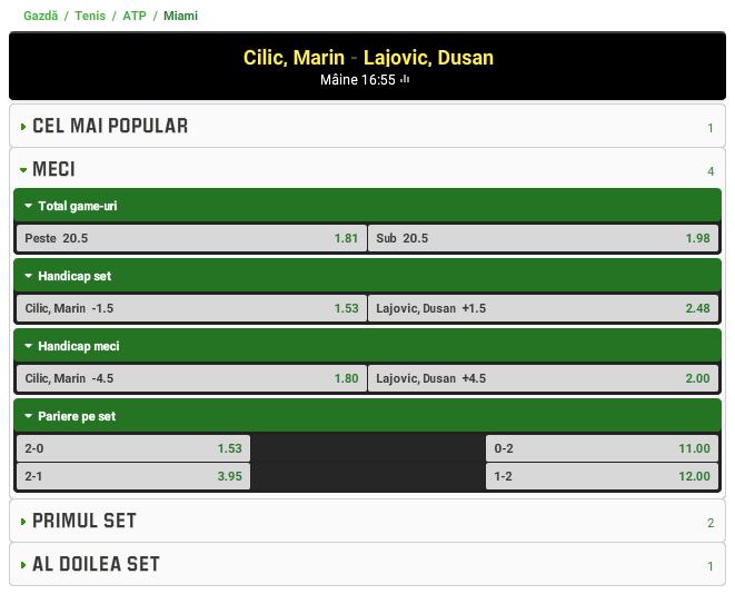 Marin Cilic vs Dusan Lajovic