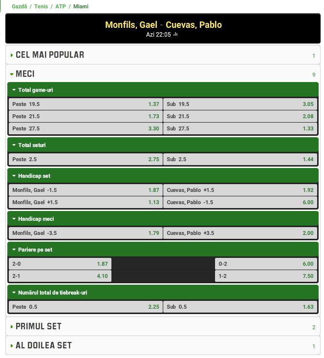 Gael Monfils vs Pablo Cuevas