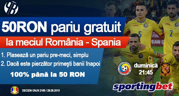 Pariaza online gratuit pe meciul Romaniei cu Spania
