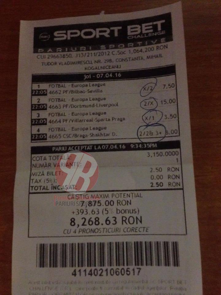Bilete Pariuri : Un jucator din Constanta a dat lovitura cu Europa League !
