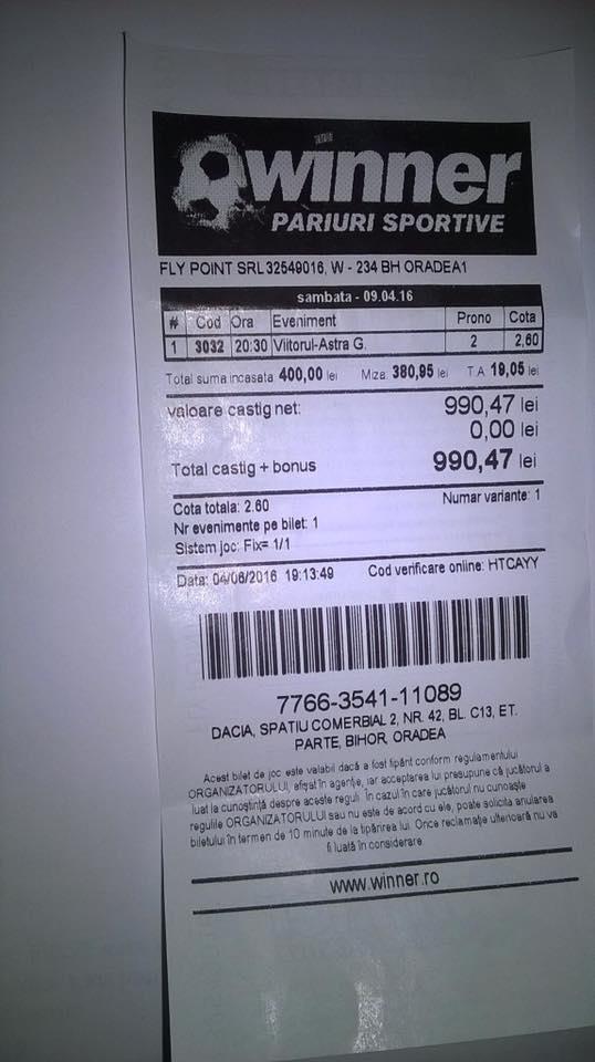 Bilete Pariuri : Un jucator din Oradea a mizat 400 ron pe victoria celor de la Astra Giurgiu !