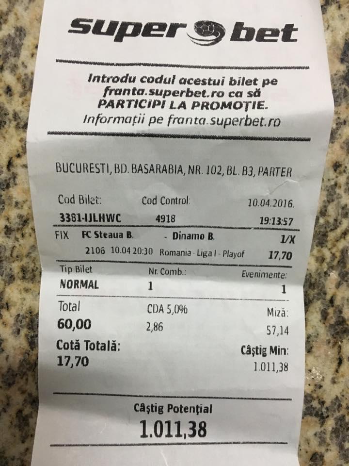 Bilete Pariuri : Un jucator din Bucuresti a prins pauza final la Steaua - Dinamo !