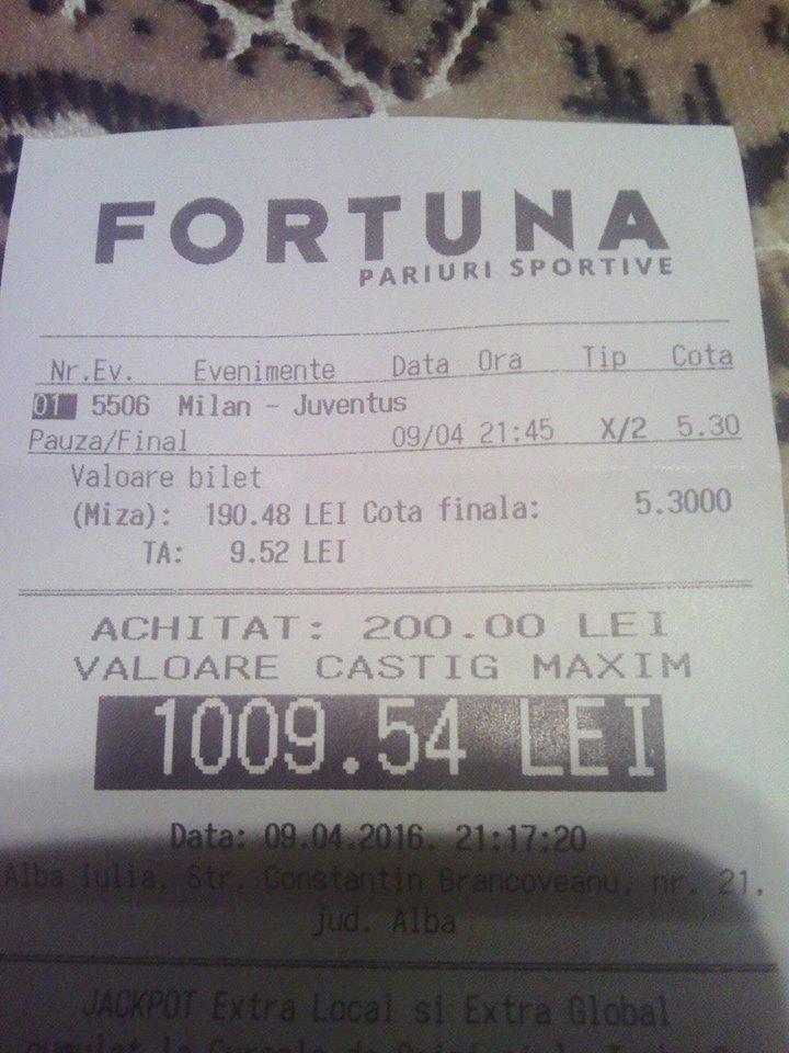 Bilete Pariuri : Un parior a mizat 200 ron pe pauza final la Milan – Juventus !