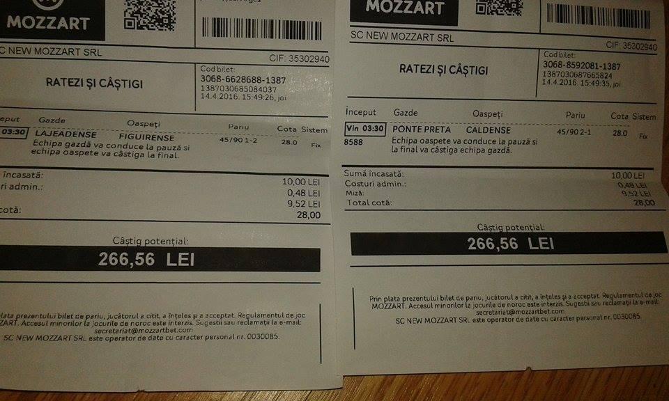 Bilete Pariuri : Madalin propune 4 bilete !