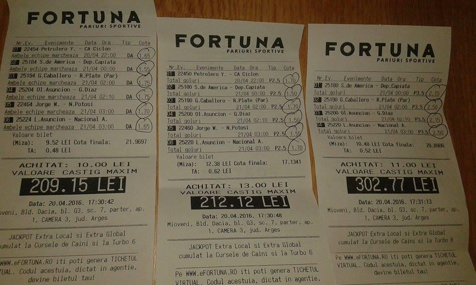 Bilete Pariuri : Madalin a castigat peste 900 ron cu evenimentele din America De Sud !