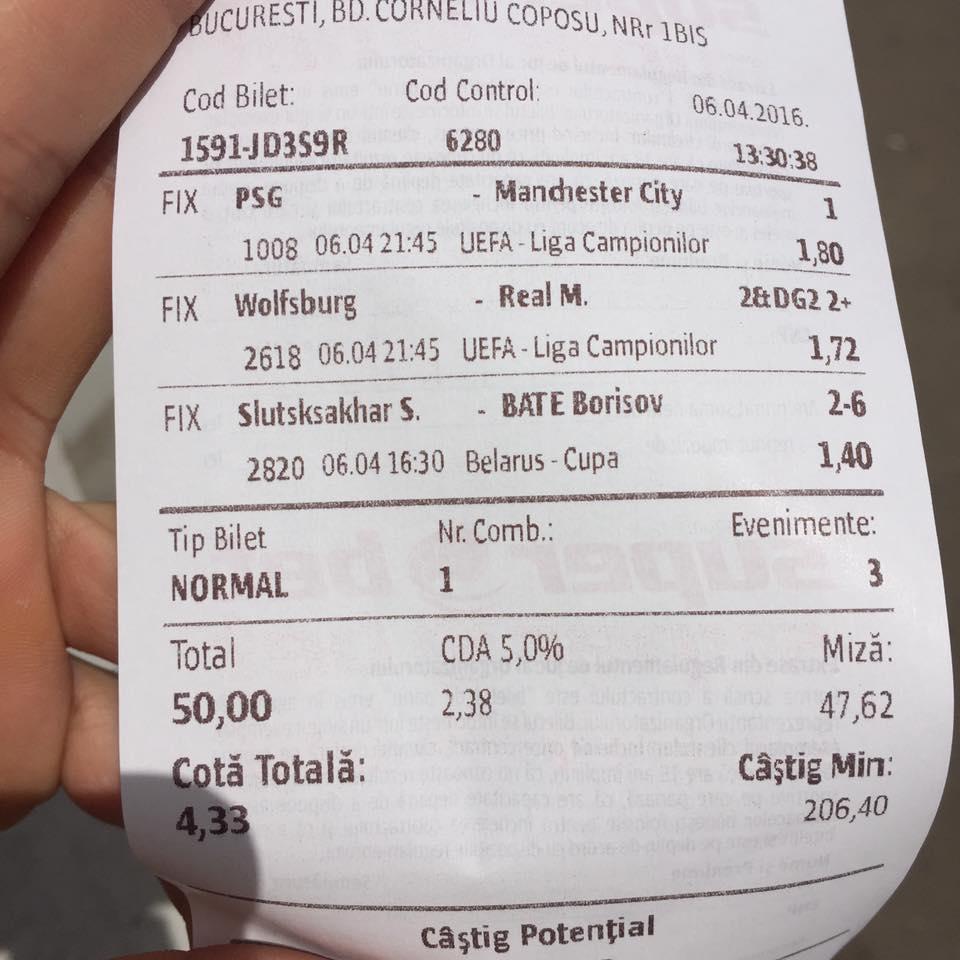 Bilete Pariuri : Un parior din Bucuresti a mizat 50 lei pe cota 4 !