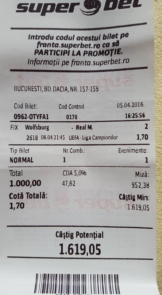 Bilete Pariuri : Un jucator din Bucuresti merge pe Real Madrid cu incredere !