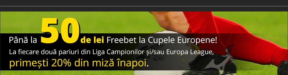 Freebet cupele europene Fortuna