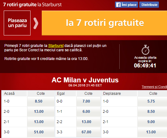 Pariaza pe AC Milan vs Juventus si castigi 7 rotiri gratuite