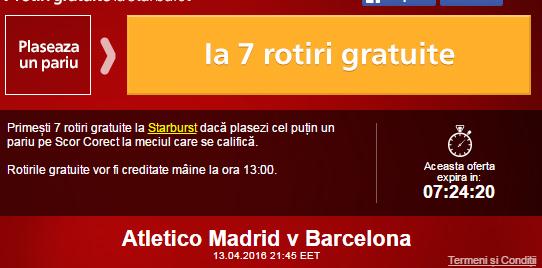 Rotiri gratuite Atletico Madrid vs Barcelona
