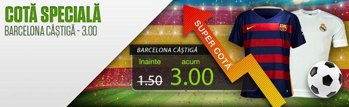 Barcelona sa castige El Classico : cota 3.00 de la Netbet