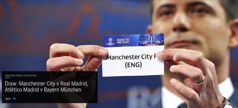 Liga Campionilor - semifinale: Man.City-Real și Atlético-Bayern