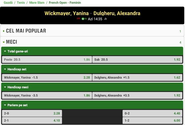 Ponturi Tenis Wickmayer vs Dulgheru - Roland Garros
