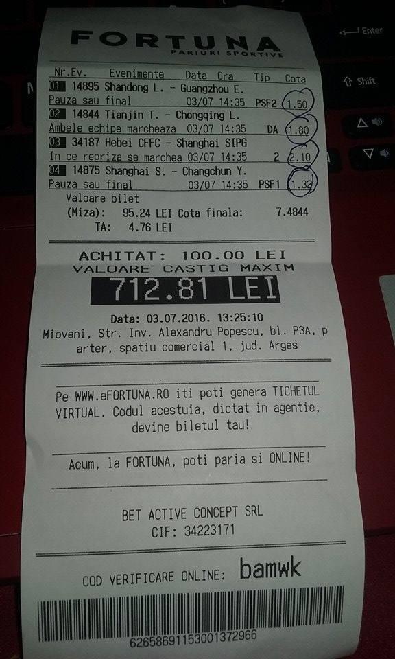 Bilete Pariuri : Madalin a oferit din nou un bilet castigator !