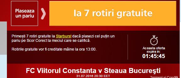 Rotiri gratuite Viitorul vs Steaua