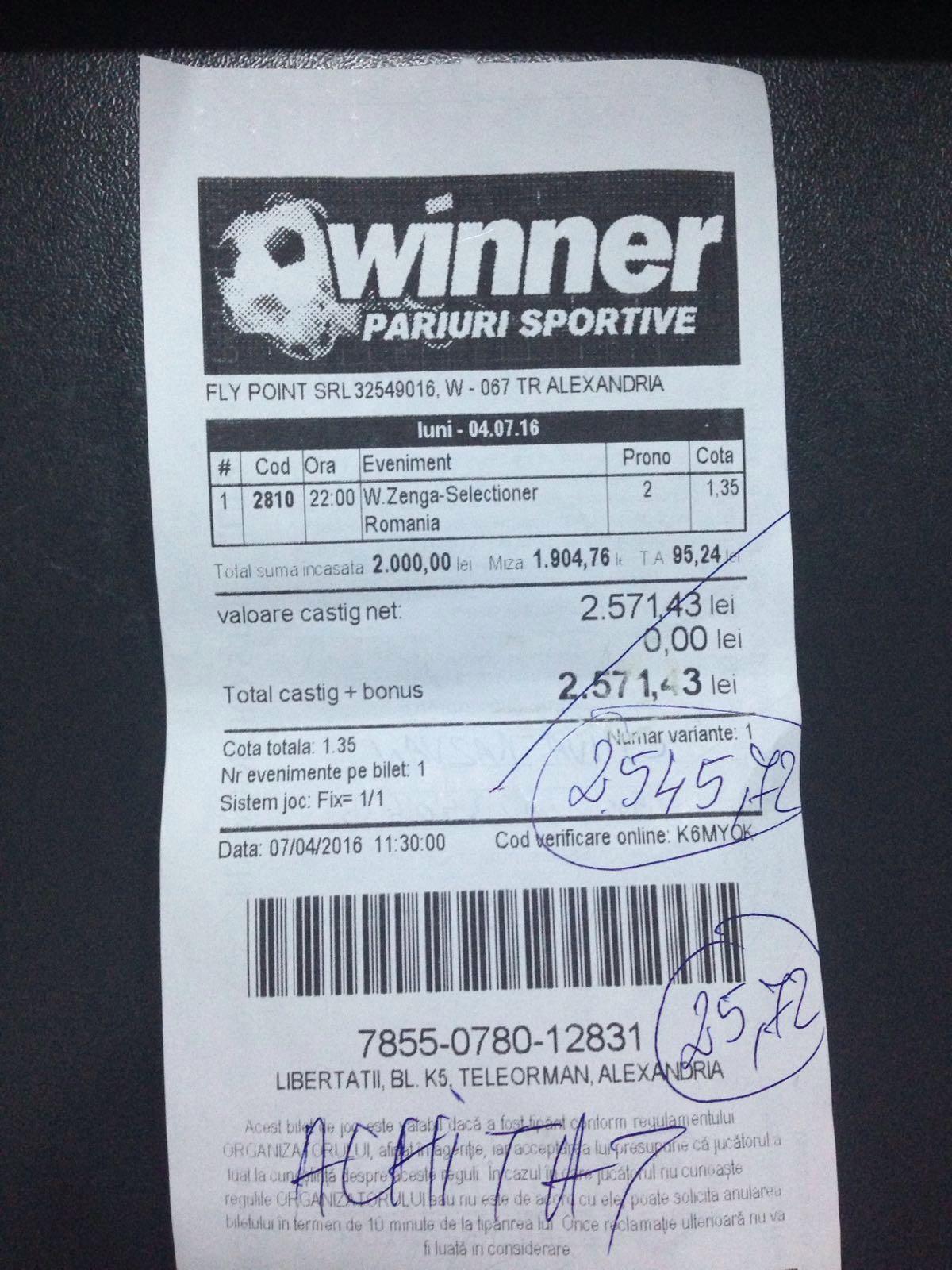Noul selectioner al Romaniei a adus profit unui parior de la Winner