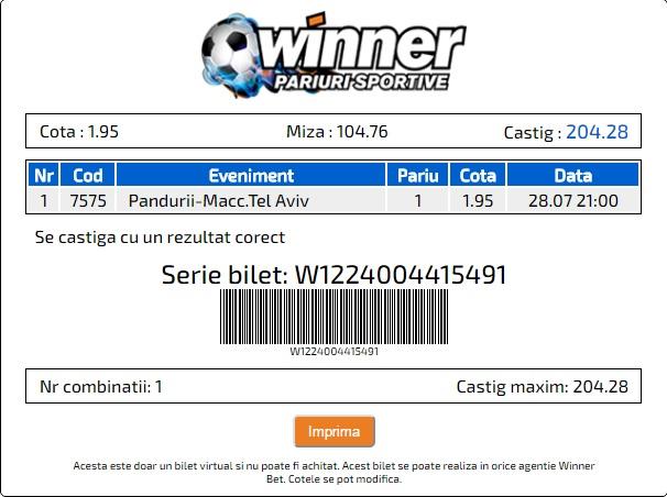 Biletul zilei: Pronostic cu incredere marede jucat la Winner!