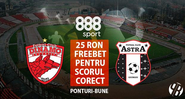 Concurs scor corect Dinamo – Astra: castiga 25 RON FREE BET la 888sport