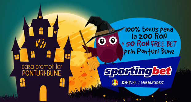 Sportingbet exclusiv: 100% bonus pana la 200 RON plus 50 RON FREE BET