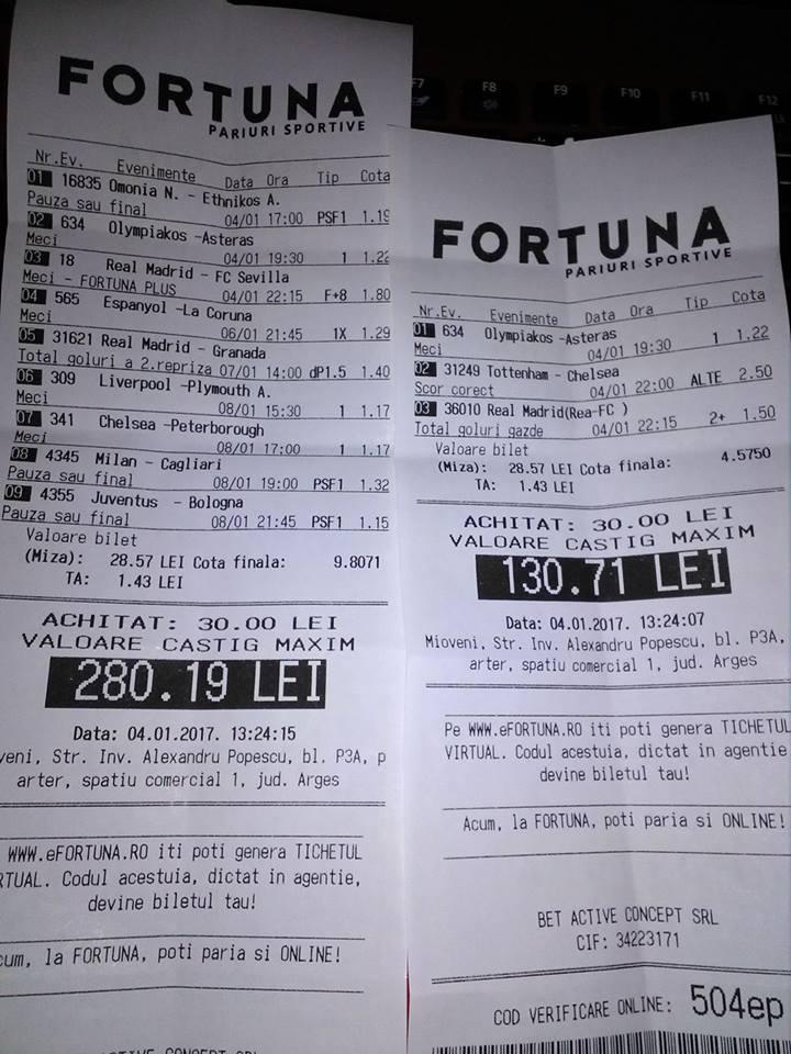 Bilete Pariuri : Madalin propune 2 bilete simple si un bilet bonus dublu !