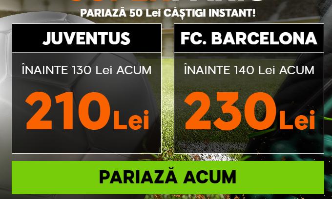 Super cota pentru victoria ambelor formatii in Juventus vs Barcelona