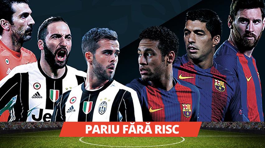 Pariu fara risc pentru meciul Barcelona – Juventus