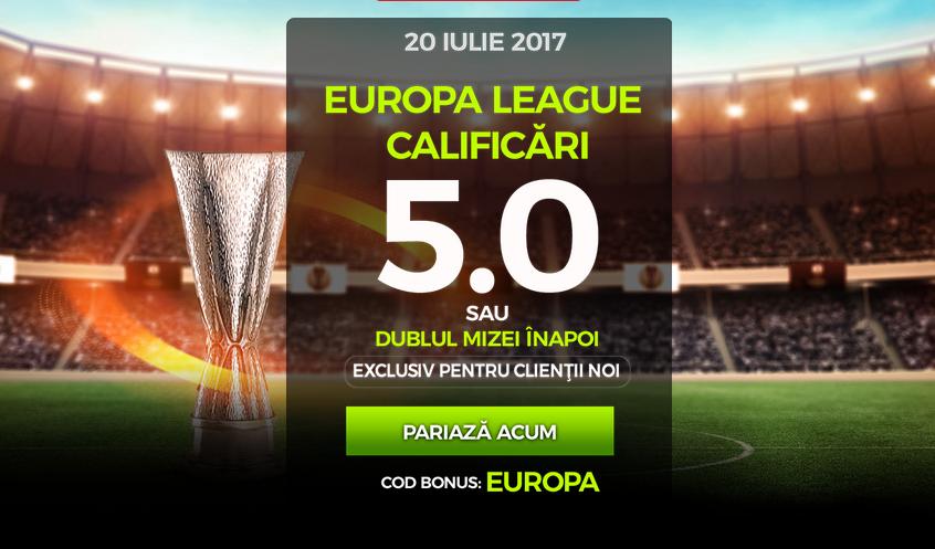 Cota 5 pentru orice meci din calificarile Europa League