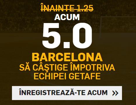 Cota 5 pentru victoria Barcelonei in meciul cu Getafe