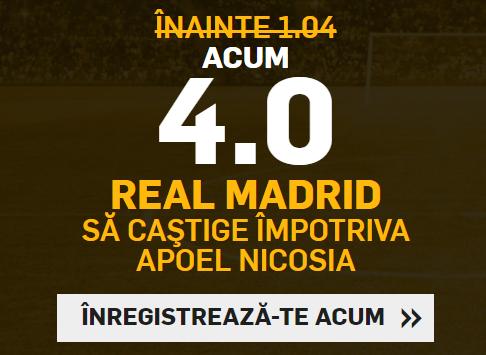 Cota 4 pentru victoria campioanei Real Madrid cu APOEL Nicosia