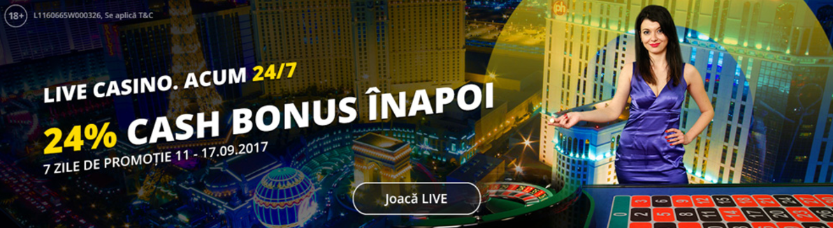 Rambursare de 1200 RON la Live Casino