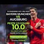 Cota 10.00 sau dublul mizei inapoi la meciul Bayern vs Augsburg