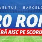 """Juventus vs Barcelona – Pana la 20 RON inapoi pentru pariurile pe ,,Scor Corect"""""""
