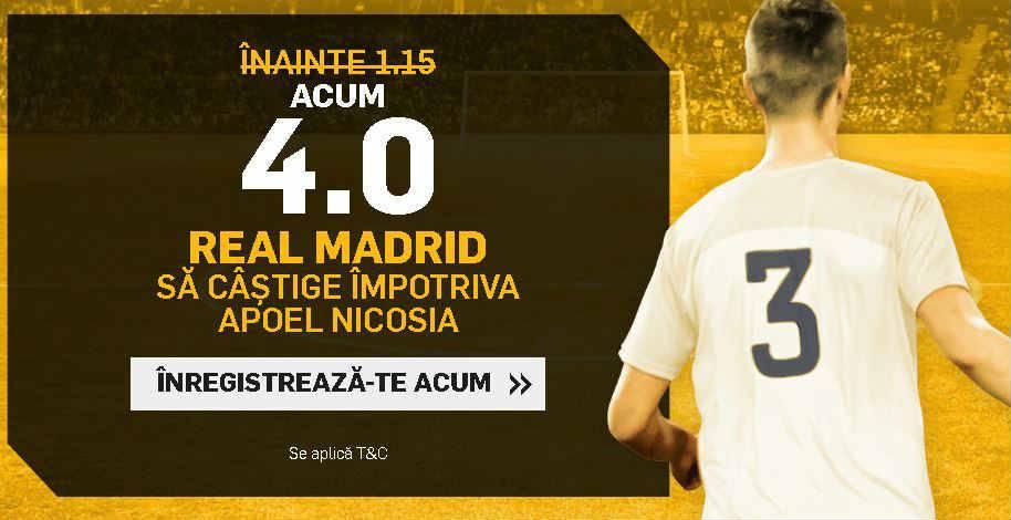 Pariaza la cota 4.00 pe Real Madrid in partida cu Apoel