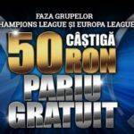 Super-oferta pentru Champions & Europa League: Pariezi 100 RON si primesti 50 RON BONUS