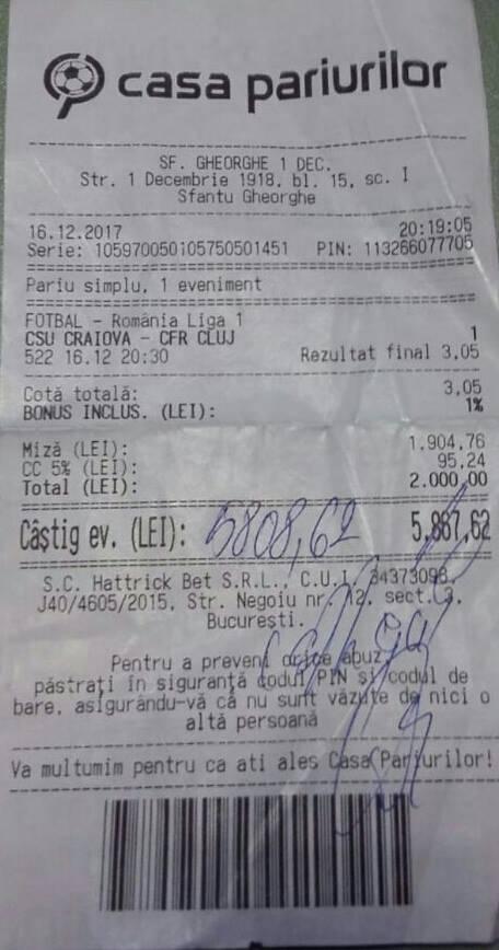Bilete Pariuri : Un jucator din Sfantu Gheorghe a mizat 2000 lei pe Craiova !