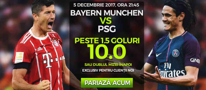 Cota 10.0 pentru minim doua goluri in Bayern Munchen vs PSG