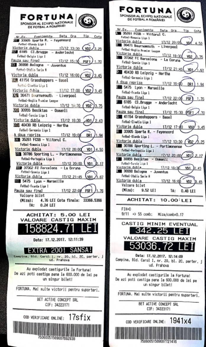 Bilete Pariuri : Un parior din Campina a castigat peste 200.000 lei cu doar 15 lei investiti !