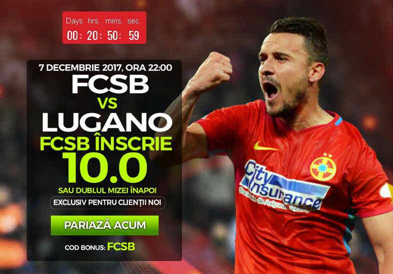 Unde poti paria la cota 10.00 ca FCSB inscrie in partida cu Lugano