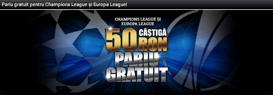 50 RON Bonus pentru Champions League si Europa League