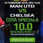 Obtine cota 10 pentru orice pariu la Manchester United-Chelsea