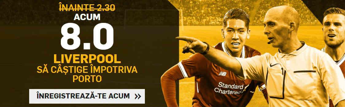 Cota 8 pentru victoria lui Liverpool in Champions League