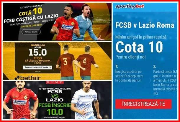 Cele mai bune promotii online pentru meciul FCSB vs Lazio