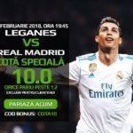 Pariaza la cota 10.00 pe meciul dintre Leganes si Real Madrid