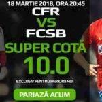 Cota 10 pentru orice pariu in CFR Cluj – FCSB