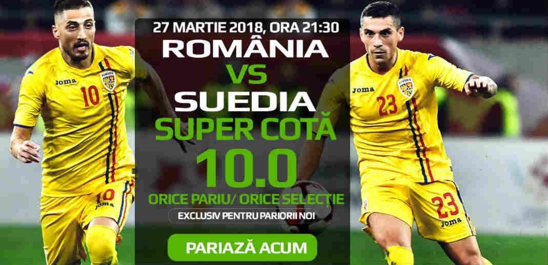 Cota 10 pentru orice pariu in Romania – Suedia