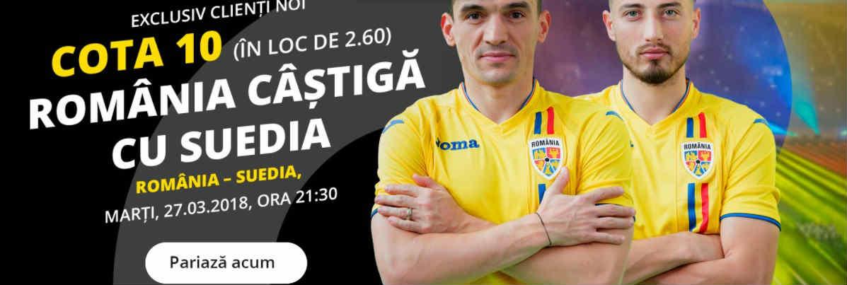 Romania beneficiaza de cota 10 la victorie impotriva Suediei