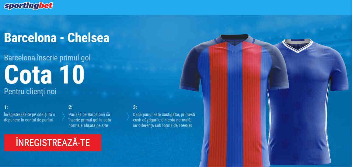 Cum poti obtine 100 RON daca Barcelona inscrie prima impotriva lui Chelsea